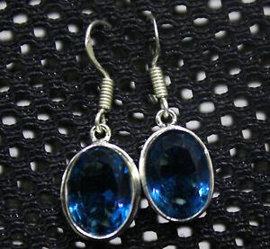 For Women 27.00Ct Oval Shape AAA Blue Topaz 925 Sterling Silver Earrings Pair YV