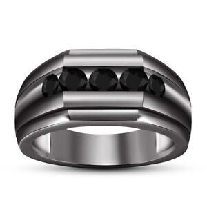 14K Black Gold Finish 1.60 Ct Round Cut Diamond Men's Engagement Pinky Band Ring