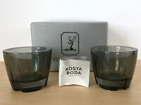 2 New Grey KOSTA BODA Glass Votives Candle Tea Light Holders