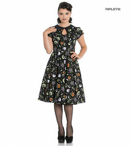 Hell Bunny 50s Black Pin Up Dress Horror Witchy SALEM Halloween XS UK 8