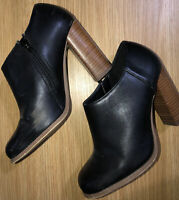 Next Ladies Boot/Shoe Size 3 Black Leather Zip Closure Slight Wear And Tear