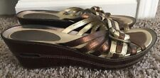 COLE HAAN NikeAir G Series Gold Tone Bronze metallic Leather Wedges Size 10 B