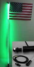 4 feet Led light bulb whip with American flag Quick Release- Green color