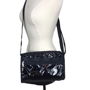 LeSportsac Shiny Black Crossbody Shoulder Bag Purse Pockets Lightweight Travel