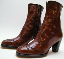 WOMENS VTG FLORSHEIM BRN LEATHER ANKLE ZIP WINGTIP DRESS HEEL BOOTS SZ 7.5~1/2 M