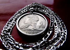 """Belgian 1939 Classic Royal Lion Coin Pendant on a 30"""" 925 Sterling Silver Chain."""