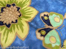 Coupon tissu de déco ameublement haut de gamme 70 x 120cm papillons bleu vert