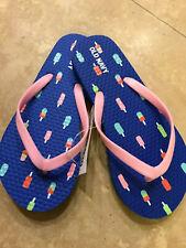 *NEW!* Old Navy Toddler Rubber Pool Flip Flops Blue Ice Cream Pops Size 12/13