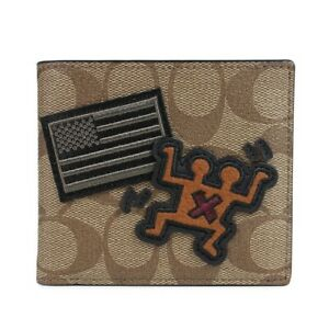 Coach Men's Keith Haring Signature with patches Double Billfold Wallet F66591