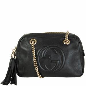 62200 auth GUCCI black leather SOHO MEDIUM DOUBLE CHAIN Shoulder Bag