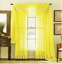 BRIGHT YELLOW  SCARF VALANCE SHEER VOILE WINDOW TREATMENT CURTAIN DRAPES