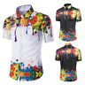 Men Casual Turndown Collar Colorful Paint Pattern Short Sleeve Shirt Blouse