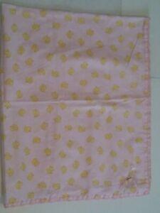 Pink Baby Girls Blanket Yellow Duck Chick Pattern
