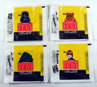Star Wars Jedi (ROTJ S1) - 4x Wax Pack Card Wrapper SET - 1983 - SLIGHT TEARS !!