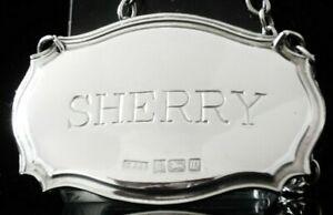 Silver SHERRY Decanter Label, C Robathan & Son, Birmingham 1996