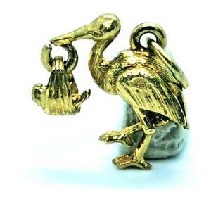 Stork & baby Vintage Charm, Hallmarked 9ct gold c1978, FREE Insured P&P #Cn