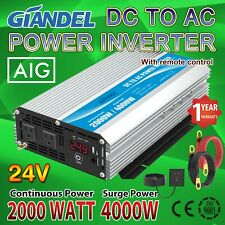 Power Inverter 2000W Modified Wave 24V to 110V-120V 4.5m Remote Usa Transistors