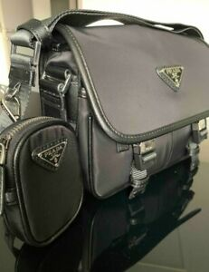 Prada Nylon And Leather Shoulder Bag
