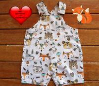 Baby Boys Overalls, baby boys Shortalls, Woodland Tribal,Handmade Size 00,0,1,2