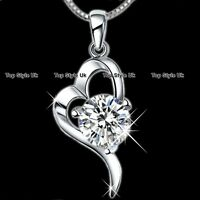 XMAS GIFTS FOR HER  Diamond Heart Necklace for Women Gifts for Girls Mum Wife K9