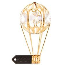 24k Gold Plated Mini Hot Air Balloon Ornament Made with Genuine Matashi Crystals