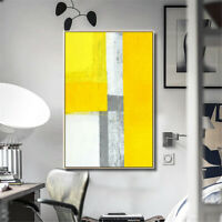 Mustard Yellow Modern Abstract Canvas Painting Wall Art Print Pictures Framed h