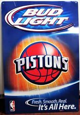"BUDWEISER BUD LIGHT DETROIT PISTONS NBA 28"" METAL BEER SIGN"