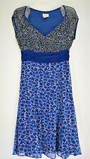 Viola Anthropologie Dress Size 4 Blue Black Gray Floral Empire Waist VNeck Silk