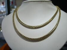 "FINE SOLID FRANCO BOX CHAIN 14 KARAT YELLOW GOLD 40"" HAND MADE 80 GRAMS 3.5MM!!"