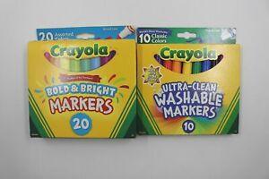 Crayola Broad Line Washable Markers Classic Bold Bright Non-Toxic School 30