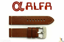 24mm Brown Smooth Leather Watch Band Fits Luminox Strap Anti-Allergic Heavy Duty