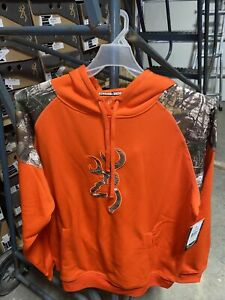 Browning Mens Camo Hunting Gauge Orange Sweatshirt  Size Medium