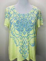 Chico's Zenergy Size 3 XL Soft Lotus Embellished Short Sleeve Top
