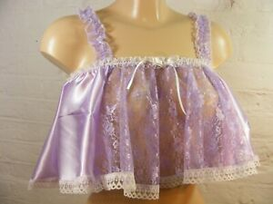 sissy dress sheer satin and lace camisole top cosplay fancy dress CD TV