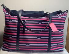 NWT Kate Spade Jae Nylon Pink Multi Lips Print  Weekender Luggage Travel Bag