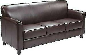 Flash Furniture BT-827-3-BN-GG Hercules Diplomat Leather Sofa - Brown