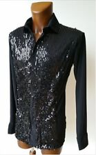 MENS SHINY SEQUIN FRONT STRETCHY LATIN / TANGO DANCE / PARTY SHIRT. BLACK