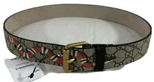 GUCCI Logo Snake Print GG Supreme Multicolor Canvas and Leather Belt 75-30
