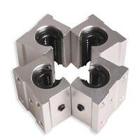 4 x SBR12UU 12mm Aluminum Linear Motion Router Bearing block, silver N2T7