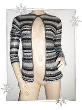 Magnifique Gilet Cardigan Gris Rayé Etincelle Couture Taille 1 - 36 / 38