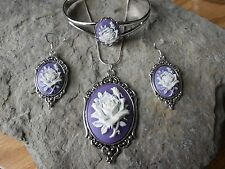 WHITE ROSE (LAVENDER / PURPLE) CAMEO NECKLACE. BRACELET, AND EARRINGS SET