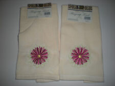 Set of 2 Beige Deluxe Fingertip Towels with Pink Embroidered Flower - New