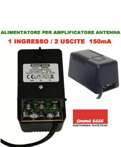 ALIMENTATORE TV X AMPLIFICATORE ANTENNA TERRESTRE 12V - 2 USCITE 150mA EMMEESSE