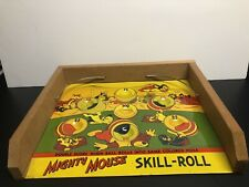 VINTAGE 1956 MIGHTY MOUSE SKILL ROLL GAME, TIN LITHOGRAPH TERRY TOONS KID TOY