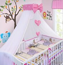 BEDDING SET BABY NURSERY COT COTBED PILLOW DUVET COVER BUMPER CANOPY 3/6/10/14Pc