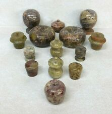 Group of 14 Vintage Collectible Carved Stone Covered Jars Vessels
