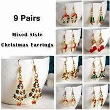 9 Pairs Christmas Women Crystal Enamel Tree Earrings Ear Hook Dangle Xmas Gifts