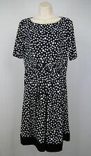 R&M Richards Women Sz 8 Black White Polka Dot Shift Dress Boat Neck Short Sleeve