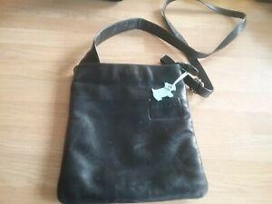 Black Leather Radley Crossbody Handbag Medium Pockets Blue Dog Charm