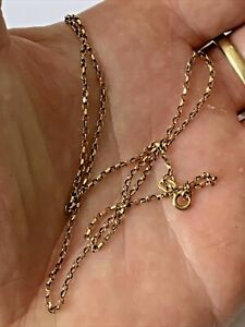 "Vintage 9ct 9k Gold 16.5"" Long Belcher Link Chain Necklace Ladies Men's"